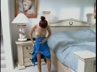 Tiny-titted ginger-head female demonstrates her beautiful body and sucks dick