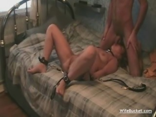Wife gets roped and fucked hard