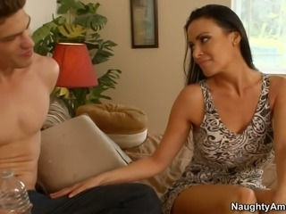 Wonderfully seductive mom Vanilla DeVille polishes strong cock of a young stud