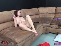 Buxom redhead Jessica Robbin enjoys the sybian and fucks a stiff dick