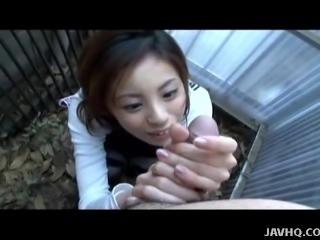 Slutty Asian chick strokes the cock in pov
