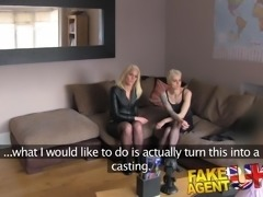 FakeAgentUK Anal threesome on the casting couch