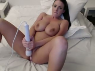 Boobalicious hottie pleasing wet cherry with Hitachi sex toy