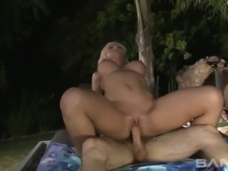 Horny hubby fucks busty blond MILF Leya Falcon in various styles outdoors