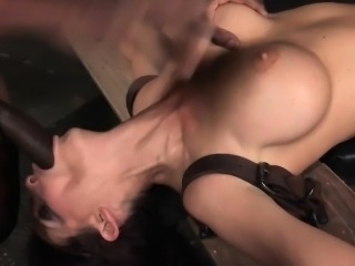 Facefucked sub getting mouth and pussy fucked