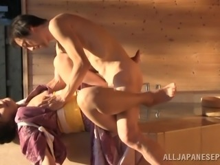Chubby Japanese wife blows and gets fucked hard in a sauna