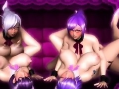 Maid 3D futanaris foursome fucked on the sofa