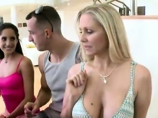 Gorgeous MILF and amateur gets fucked by a monster cock