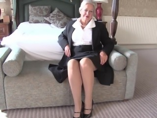 Granny has an elegant lingerie set under her work clothes