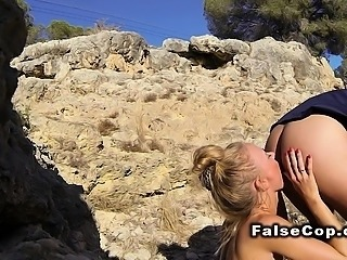 Slim Euro blonde licks arse to fake cop outdoor