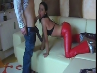 anal in red leather pants
