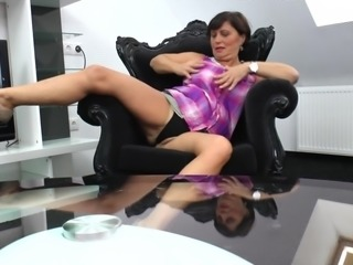 Katalyn always uses that comfy chair for the rough pussy masturbation