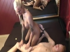 Blonde girl fucks shy joung guy