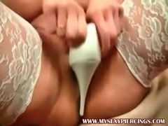My Sexy Piercings Pierced MILF stuffing her pussy with shoe