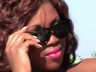 Two black lesbian bikini babes get naughty