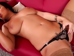 Carmen Croft with giant tits and smooth beaver strips down to her bare skin...