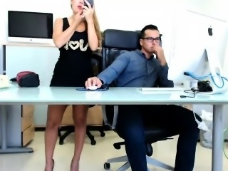 Naughty hot secretary is crazy about fucking her hung cowor