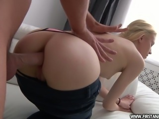 Alluring blonde beauty Kamilla ass fucked in doggystyle