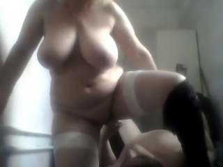 Russian mature mom and her stupid boy! Homemade! Amateur!