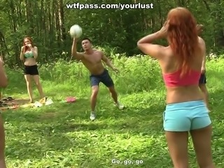 Group of horny Russian students go wild in the forest