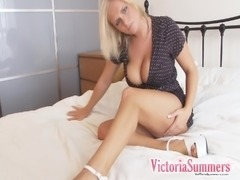 Solo sex tape with Victoria Summers rubbing her big natural tits