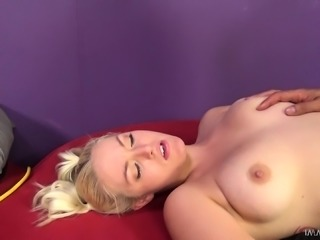 Blonde cutie with pigtails Jenna Ivory works her snatch on a big pole