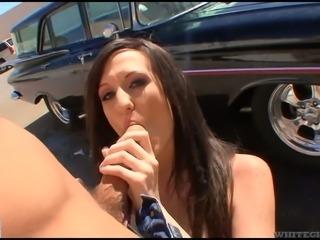 Brunette seductress Skyla Shy receives facial after hard fuck