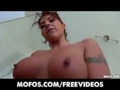 Sexy Latina with a perfect pair of tits is caught in shower