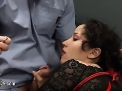 charming violently banged bdsm babe with ropes