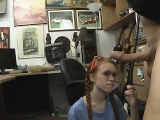 Face Fucking Redheaded Dolly Little In Pawn Shop Office
