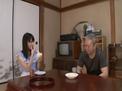 Kana Yume kind enough to have her grandpa suck from her honey pot