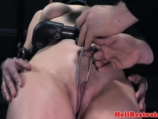 Sub slave closeup pussy punishment by master