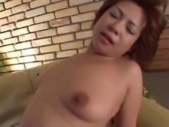 Milf takes his stiff cock into her perfect Asian pussy