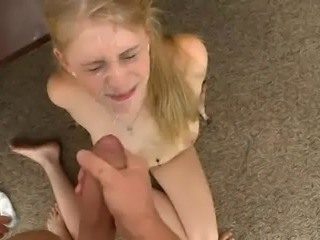 Blonde bitch blasted in the face