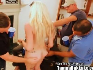 Blondie Cock Gagging Dingbat Slut Bukkake Gangbang