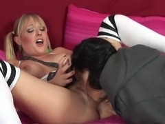 Slender pornstar with pigtails enjoys getting fucked doggy style