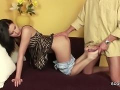 stepdaddy Seduce Skinny Stepdaughter to Fuck with Massage