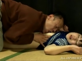 Japanese wife makes out with her man and enjoys doggy style banging