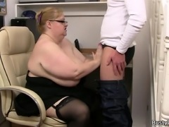 Heavy lady boss rides dick