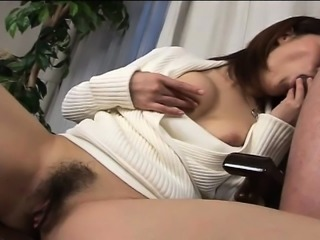 Japanese slut touches herself, blows a cock and gets a mouthful of cum