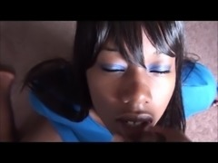 Ebony blowjob with huge facial