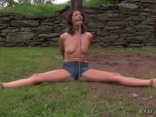 Poor Cici Rhodes and the grand outdoors bondage session