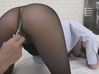Lustful Asian wife in pantyhose puts her oral abilities int