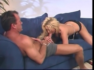 Smoking hot blonde gets lucky with a stud