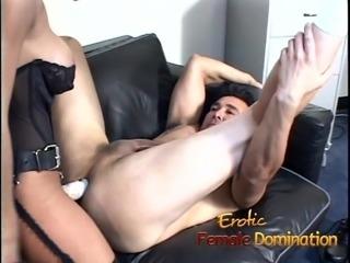 Beautiful brunette dominatrix makes her slave cum after some