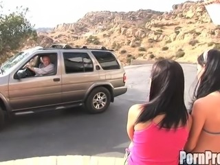 Lucky guy bangs two incredible Latinas in the middle of the desert