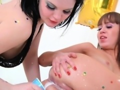 Milk enema lezzies toying ass with big dildo