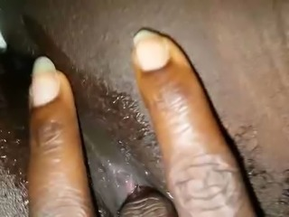 finger in my natural black pussy cum