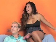 Nymphos plow guys anus with huge strap-ons and squirt semen