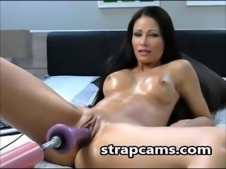 Hot Brunette Masturbates with SexMachine